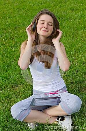 Blissful woman listening to music