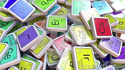 Blocchetto dell'erbio Er sul mucchio della tavola periodica dei blocchetti degli elementi chimici royalty illustrazione gratis