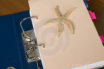 Block of documents with starfish
