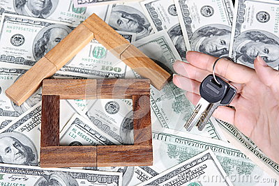 Block house on the dollar tablecloth