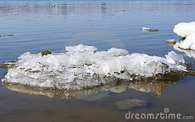 Block of ice on river