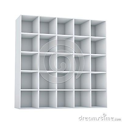 Block of square empty shelves