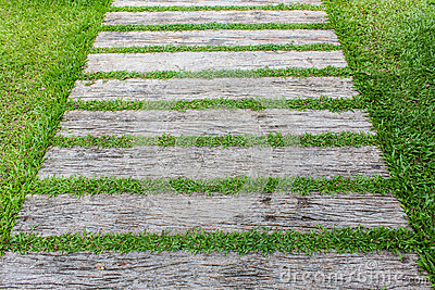 Block Walk Path In The Garden With Green Grass Stock Photo