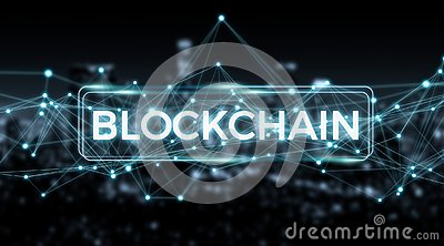 Blockchain connection background 3D rendering Stock Photo