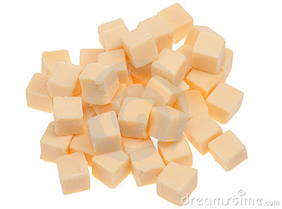 Blocks of cheese isolated
