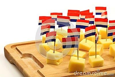 Blocks of Dutch cheese
