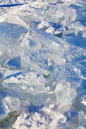 Blocks of ice in cold winter day