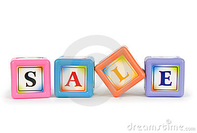 Blocks with Sale word isolated