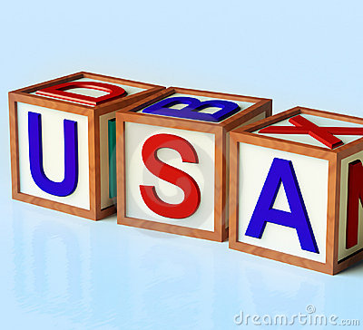 Blocks Spelling Usa As Symbol for America