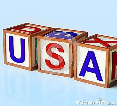 Blocks Spelling Usa As Symbol for America