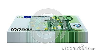 Bloco de 100 cédulas do Euro