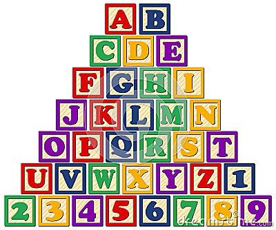 Blocs en bois d alphabet/ENV