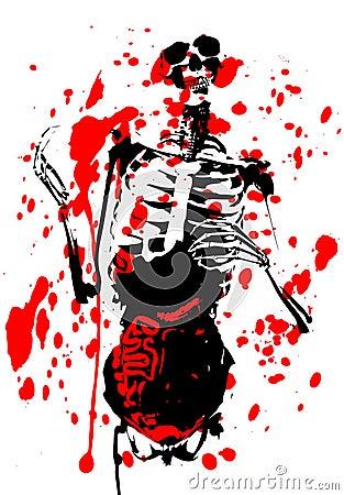 Bloedig 2D Skelet met Ingewanden