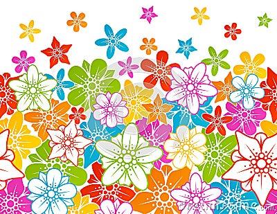 Bloemen horizontale naadloze achtergrond