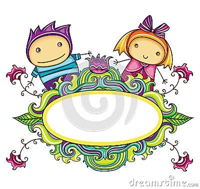 Bloemen krullend frame met leuk jongen en meisje (bloemen