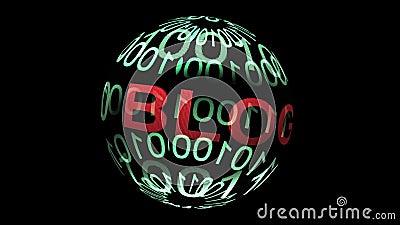 Blog e dados binários sobre esfera giratória vídeos de arquivo
