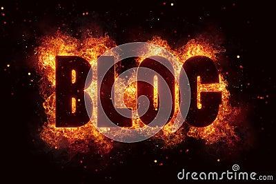 Blog in Fire text flames bloggin hot