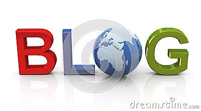 Blog with globe