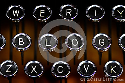 Blog letters on an old typewriter keyboard
