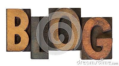 Blog in old wooden letterpress type