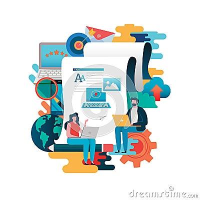 Free Blogging, Blogger. Freelance. Creative Writing. Copy Writer. Content Management, Job, Freelance, Journalist. Flat Cartoon Royalty Free Stock Photo - 138916445