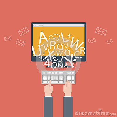 Blogging and writing for website, email. Vector illustration, flat design style with trendy icons