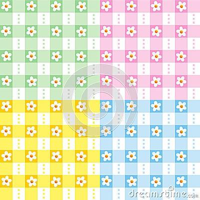 Blom- gingham mönsan seamless