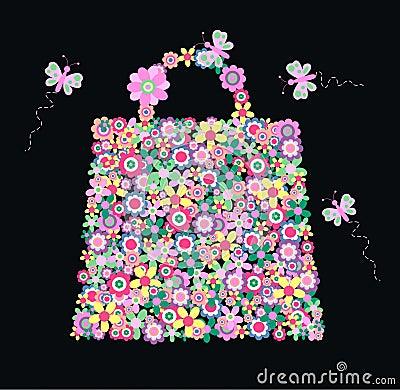 Blommahandväska