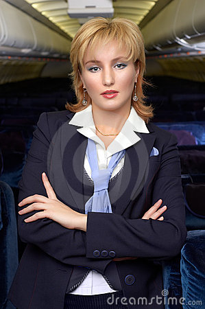 Blond air hostess