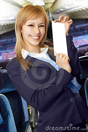 Blond air hostess (stewardess)