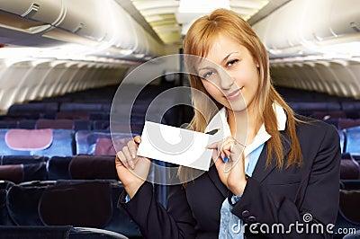 Blond air hostess (stewardess)