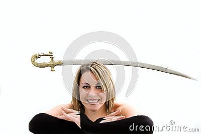 Blond balancing sword