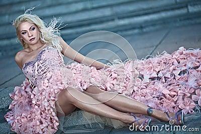 Blond beautiful luxury woman