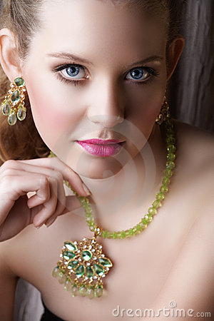 Free Blond Beautiful Woman In Green Royalty Free Stock Photos - 5419818