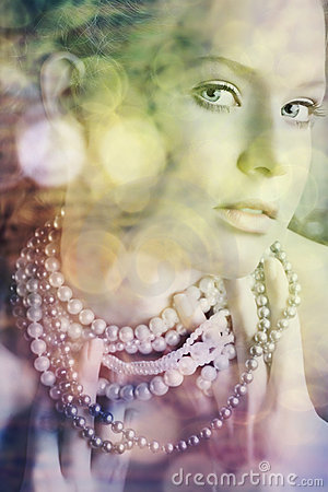 Blond beauty in pearls