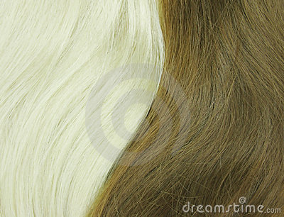 Blond and black hair as texture background