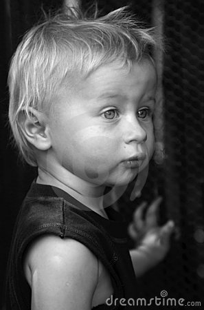 Blond boy. Black-and-white.