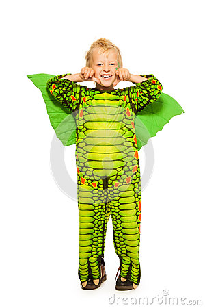 Free Blond Boy In Dragon Costume Full Height Portrait Stock Photography - 44415912