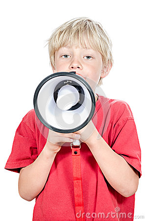 Blond boy with megaphone