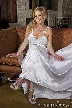 Blond Bride Wearing Wedding Gown