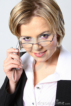 Blond business woman with glasses