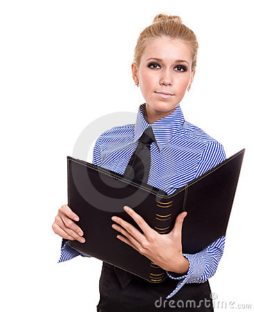 Blond businesswoman with black folder