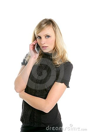 Blond businesswoman talking with mobile phone