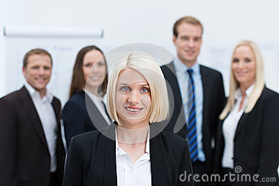 Blond Caucasian female young manager smiling