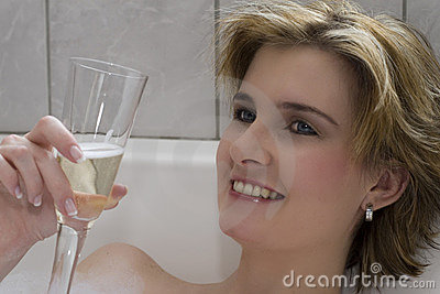 Blond champagne smile