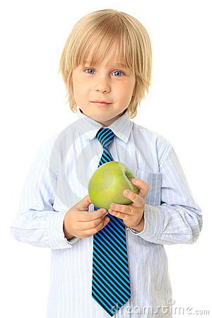 Blond child holding fruit. Series