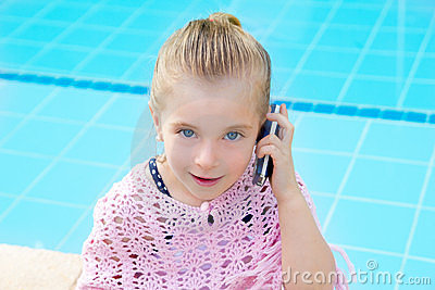 Blond child little girl talking mobile phone