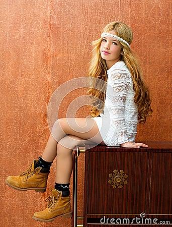 Blond children girl retro 70s