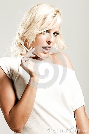 Blond with  cigarette