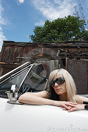 Blond in convertible
